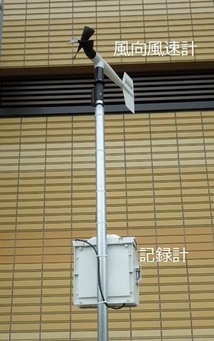 風向風速計と記録計の設置方法