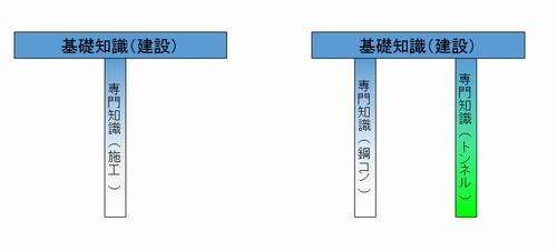 技術士の資質能力のイメージ、T型、Π型の業績のイメージ